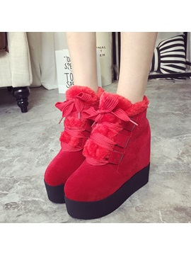 Suede Lace Up Front Flat Womens Snow Boots
