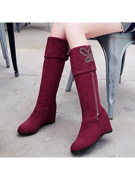 Suede Slip On Purfle Rhinestone Womens Boots