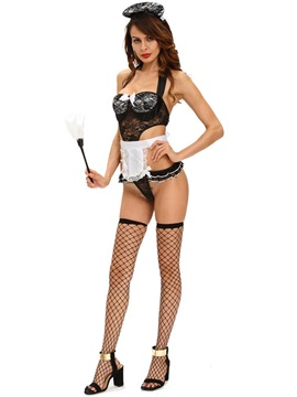 Sexy Falbala Fishnet Maid Cosplay Costume
