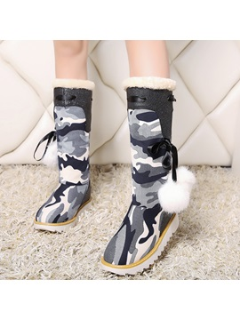Canvas Lace Up Warm Womens Knee High Boots