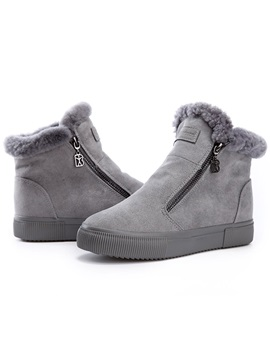 Pu Side Zipper Platform Thread Womens Snow Boots