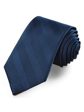 Pure Color Dark Blue Plaid Mens Tie