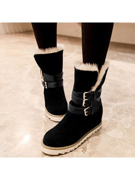 Pu Slip On Buckle Purfle Womens Boots