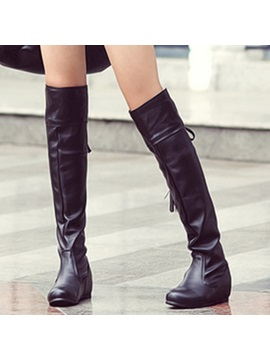 Pu Lace Up Back Ruched Womens Knee High Boots