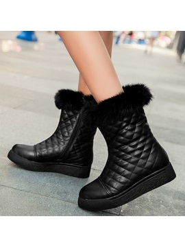 Pu Side Flat Snow Boots For Women