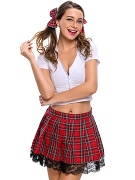 Deep V Neck Plaid Above Knee Student Cosplay Costume