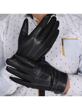 Black Leather Wear Resistant Warm Mens Gloves