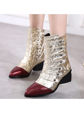 Pu Back Zip Cross Strap Rivet Womens Boots