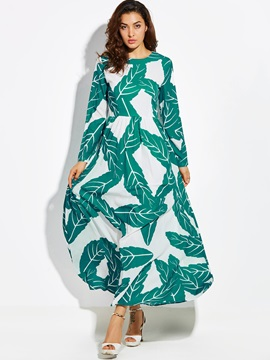Print Expansion High Waist Maxi Dress