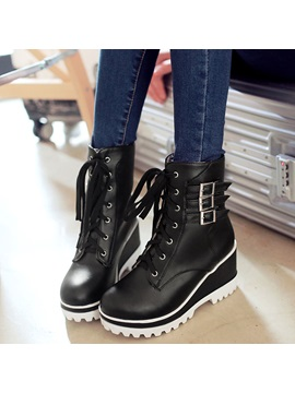 Pu Lace Up Buckle Front Platform Womens Boots