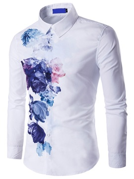 Cotton Blends Floral Printed Mens Causal Shirt
