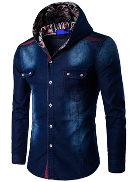 Hooded Denim Mens Causal Shirt