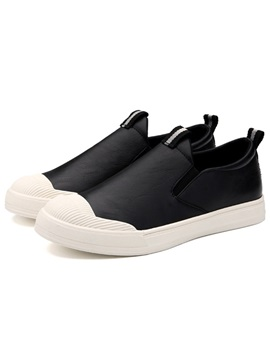 Pu Plain Slip On Mens Casual Shoes