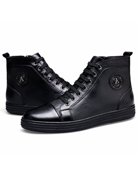 Pu Plain Black Zipper Mens Fashion Boots