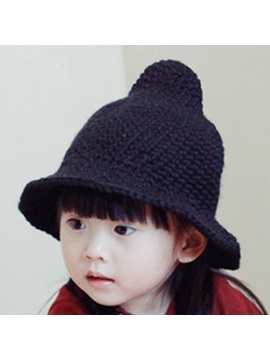 Solid Color Spire Woolen Yarn Kids Hat