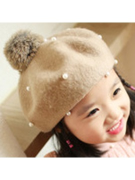 Pearls Embellished Wool Blends Kids Hat