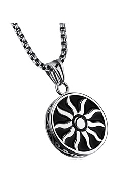 Black Sun God Pendant Mens Necklace