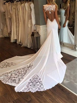 Sexy Lace Appliques Mermaid Backless Wedding Dress