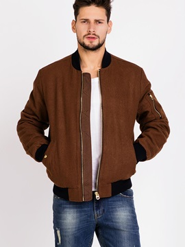 Zipper Stand Color Mens Causal Bomber Jacket