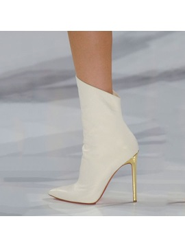 White Stiletto Heel Ankle Boots