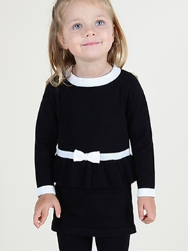 Stylish Ruffles Belt Designed Babys Sweater Dress