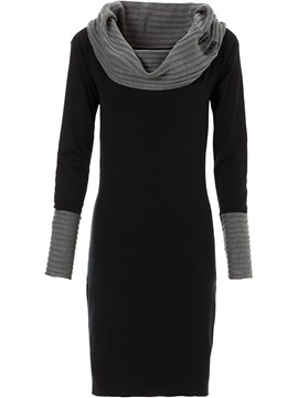 Color Block Heap Collar Pullover Womens Sweater Dress