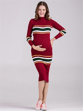 Cotton Blend Striped Over Knee Length Maternity Dress