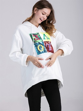 Loose Fit Lined Letters Print Maternity Hoodie