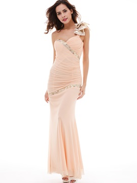 Elegant Beading Pleated Chiffon Sheath Column Evening Dress