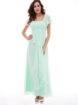 Charming A Line Square Neckline Chiffon Long Evening Dress