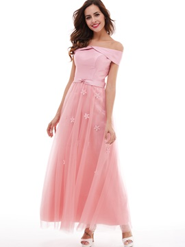 Nice A Line Lace Up Off The Shoulder Flowers Long Evening Dress