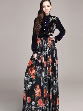 Floral Stand Collar Single Breasted Maxi Dress