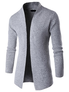 Plain Stand Collar Mens Causal Cardigan Sweater