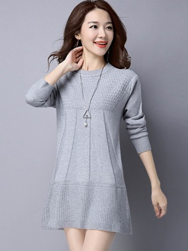 Stylish Pure Color Mid Length Sweater