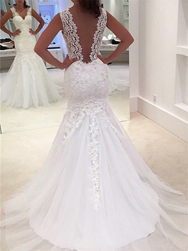 Deep V Back Appliques Lace Mermaid Wedding Dress