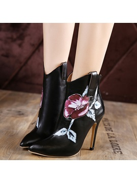 Pu Back Zip Plant Black High Heel Boots
