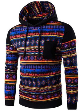 Chest Pocket Mens Causal Ethnic Hoodie