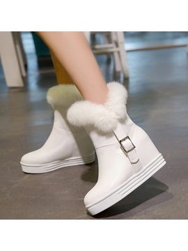 Pu Slip On Hidden Heel Womens Ankle Boots