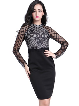 Stand Collar Mesh See Through Bodycon Dress