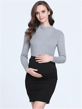 Solid Color Sheath Maternity Skirt
