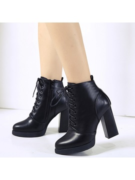 Pu Black Side Zipper Block Heel Womens Boots