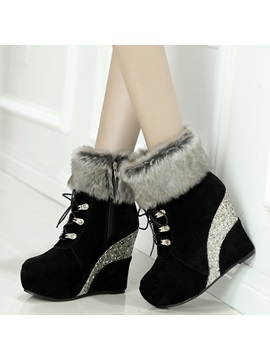 Pu Lace Up Front Platform Womens Wedge Boots