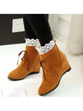 Pu Back Zip Lace Hidden Heel Womens Ankle Boots