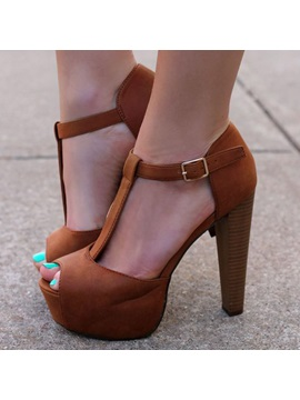 Brown Peep Toe Platform Sandals