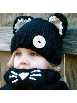 Lovely Knitted Cat Design Kids Hat Neck Warmer