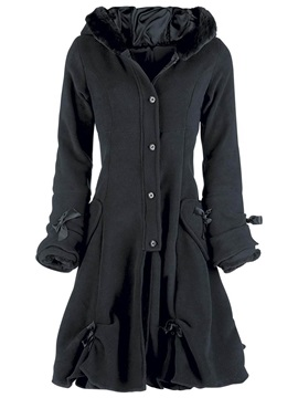 Stylish Single Breasted A Line Hooded Overcoat