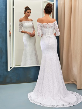 Ladylike Off The Shoulder Lace Mermaid Wedding Dress With Sleeves