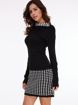 Houndstooth Patchwork Pullover Sweater Dress