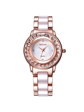 Trendy Two Tone Diamante Dial Womens Watch