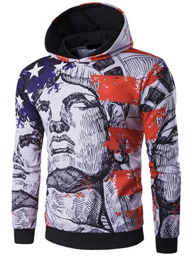 Figure Printed Long Sleeve Mens Casual Hoodie